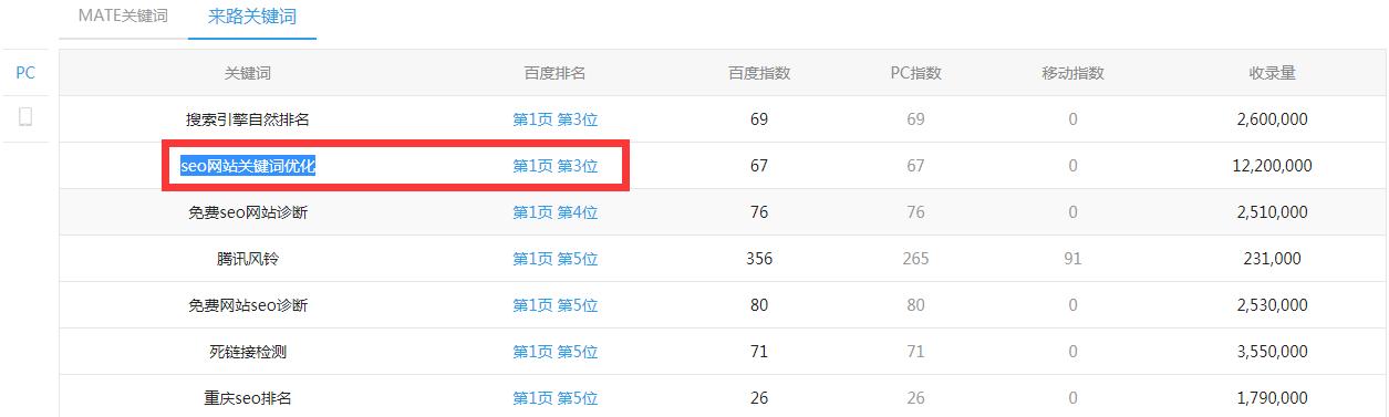 seo网站关键词优化排名第三