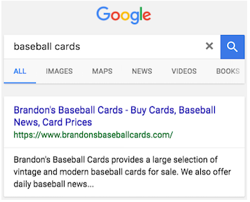 """与""""baseball cards""""相关的纯蓝色链接式搜索结果示例"""